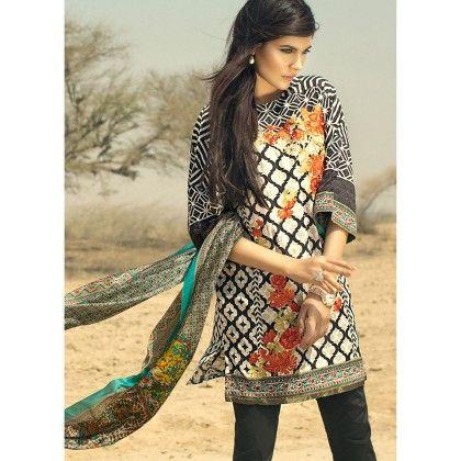 Sana Safinaz Floral Geometric Semistitched Suit - Mauve Collection