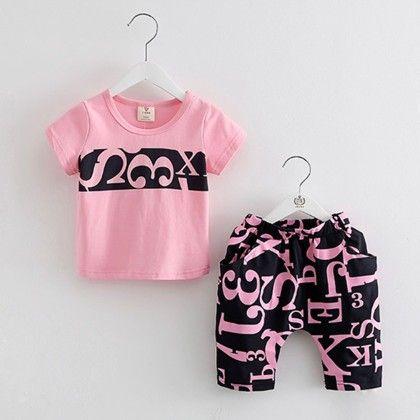 Pink T-shirt And Printed Pants - Mauve Collection