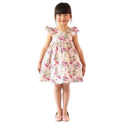 Classy Ruffle Sleeved Floral Dress - Pink - SJ