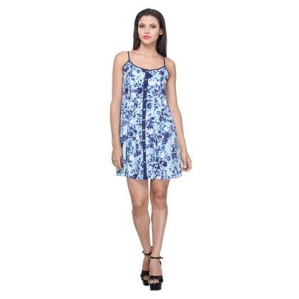 Blue Printed Polyster Printed Short Dress With Indigo Print - Varanga