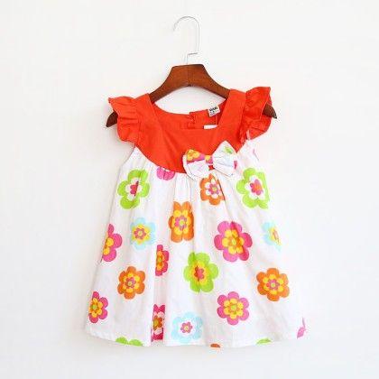 Ruffled Sleeves Floral Dress - Kehzo Kids