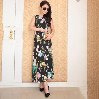 Black Floral Print Summer Long Dress - Dell's World
