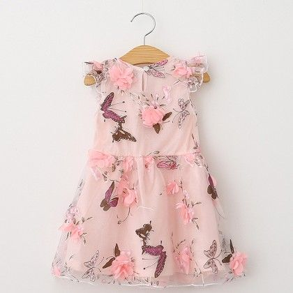 Pink Butterfly Print Party Wear Frock - Lil Mantra