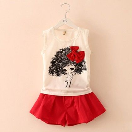 Cute Doll And Shorts Set - Red - Mauve Collection