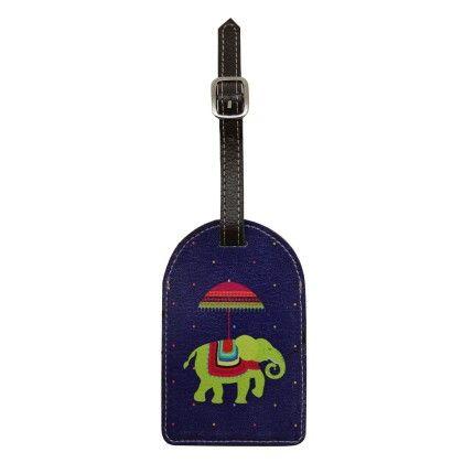 Luggage Tag Blue Flying Elephants - The Elephant Company