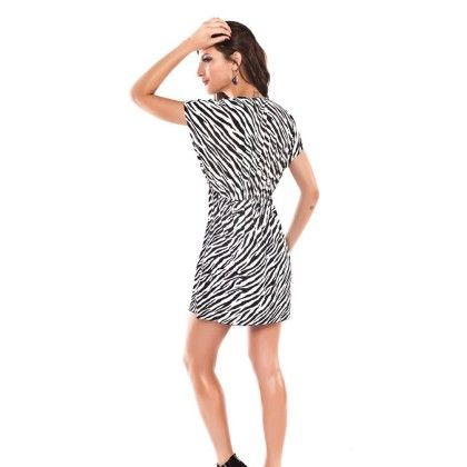 Coverup Zebra Print Beach Dress -white-black - Ruby Swimwear