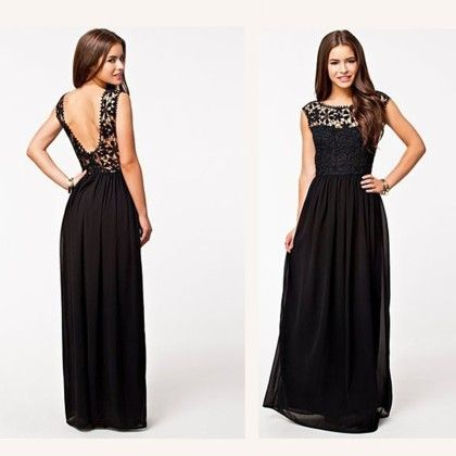 Lace Bodice Maxi Evening Dress- Black - Angel's Couture
