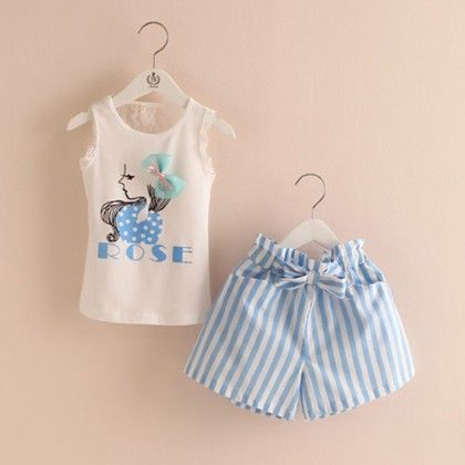 White Top And Blue Shorts Set - Mauve Collection
