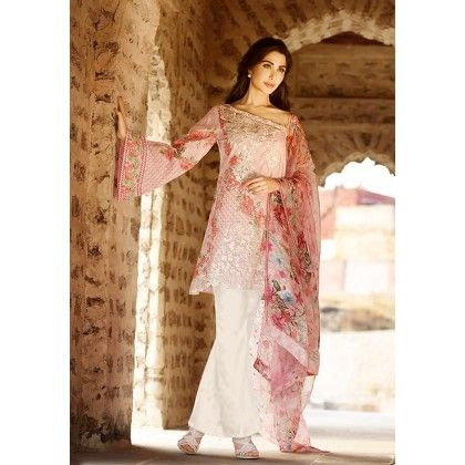 Beautiful Pakistani Style Printed Cotton Dress Material - Lt Pink - Afreen