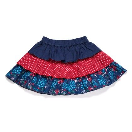 Navy Floral Print Tiered Skirt - Crayon Flakes