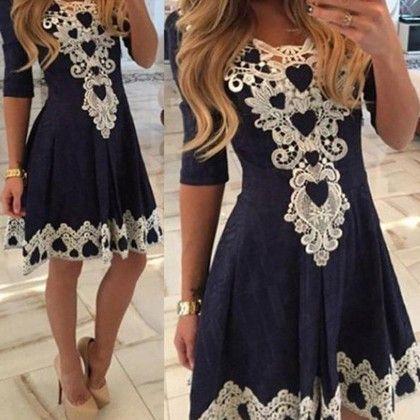 Crochet Lace Navy Dress - STUPA FASHION
