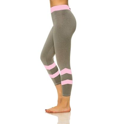 Double Stripe Capris With Media Pocket Gray And Pink - S2 Sportswear
