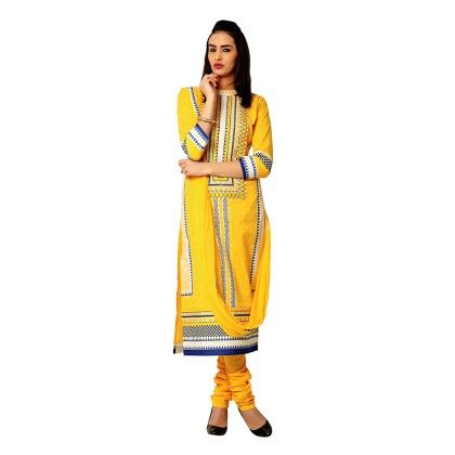 Exclusive Dress Material With All Over Front And Back Multi Design Print With Printed Dupatta Yellow - Varanga