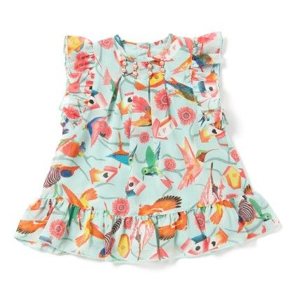Baby Girls Dress In Aqua Green Printed Georgette - Chicabelle