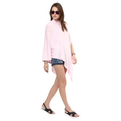 Knitted Poncho Cape Wrap Top Cerise Pink - Pluchi