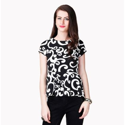 Black & White Printed Top - Dressvilla