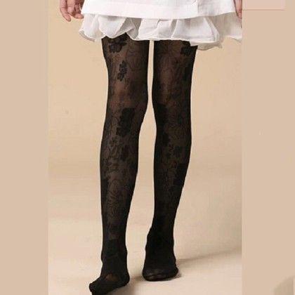 Sheer Waist High Stockings - Black - Cherry Blossoms