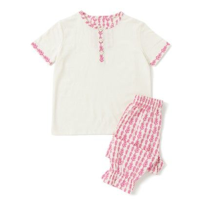 Nightwear Top And Lower - Pink And White - Growing Machine