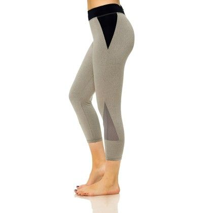 Stylish Mesh Capris With Media Pocket Gray And Black - S2 Sportswear