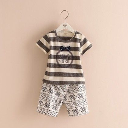 Stripe Print Tshirt And Print Pants - White - Mauve Collection