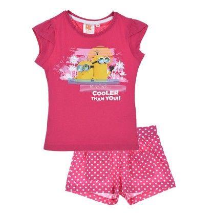 Fushia Set Minions T-shirt & Shorts Set