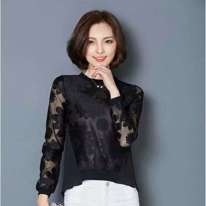 Crochet Lace Black Top - STUPA FASHION