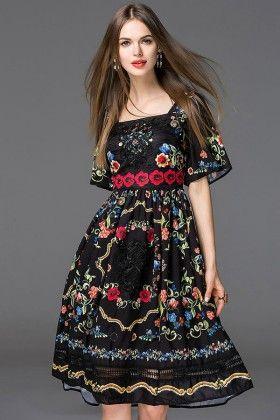 Black Dainty Flowers Summer Dress - Mauve Collection