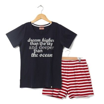 Navy Blue Top With Red Striped Shorts Set - Sheer Love