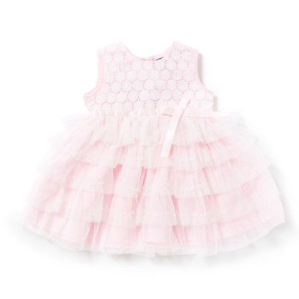 Baby Girls Dress In Pink Crepe & White Net - Chicabelle