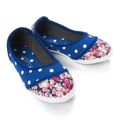 Blue Polka And Floral Print Bellies - Gift Shoes