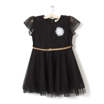 Girl's Black Printed Fit & Flare Dress - Budding Bees