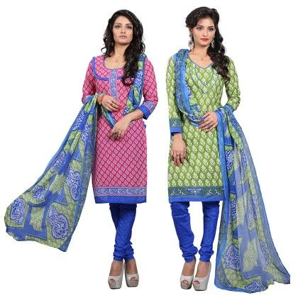 Dual Concept Of Cotton Jacquard Top With Matching Dupatta-2 Top  & 1 Bottom & 1 Duaptta Green & Blue - Varanga