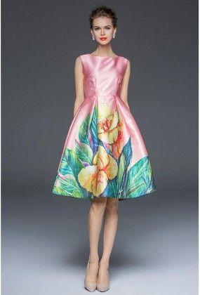 Pink Big Floral Evening Dress - Mauve Collection