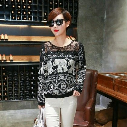 Elephant Printed Black Colored Top - Style O Style