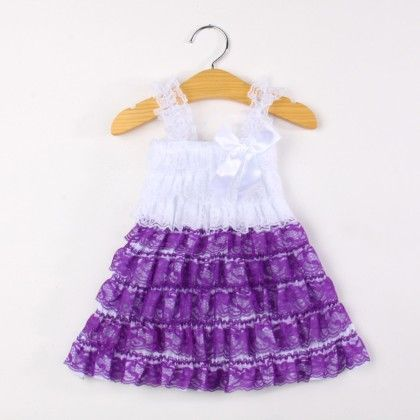 Purple And White Ruffle Dress - Pink Whale