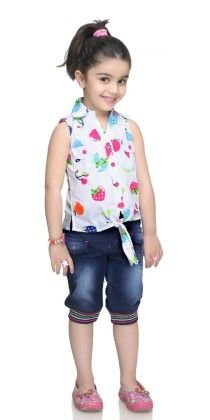 Pink Fruits Printed Girls Top & Capri Set - N-xt