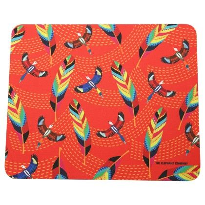 Mousepad Red Tropical Birds & Feathers - The Elephant Company