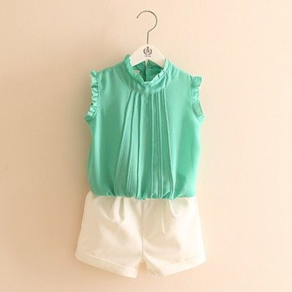 Green Top And White Shorts Set - Mauve Collection