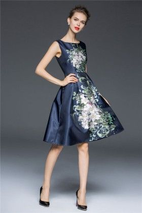 Navy Ethnic Floral Evening Dress - Mauve Collection