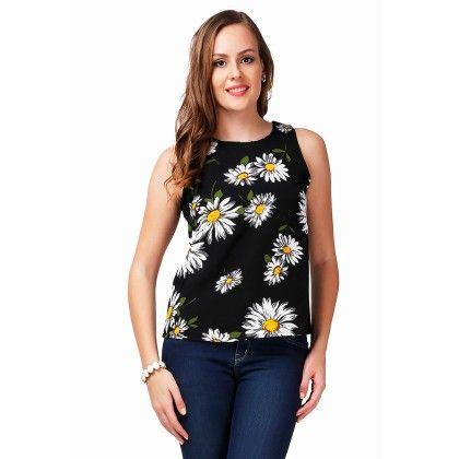 Black Floral Printed Top - Dressvilla