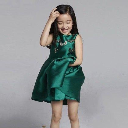 Green Butterfly Applique Party Wear Frock - Lil Mantra