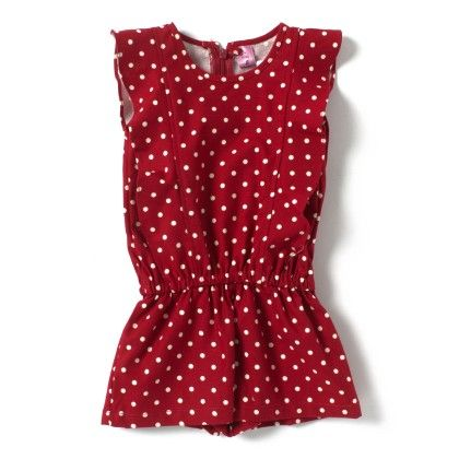 Red Polka Printed Jumpsuit - De Berry