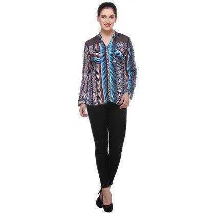 Multicolour Crepe Printed Shirt - Varanga
