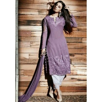 Pret Collection Mauve Embroidered Georgette Dress Material - Afreen