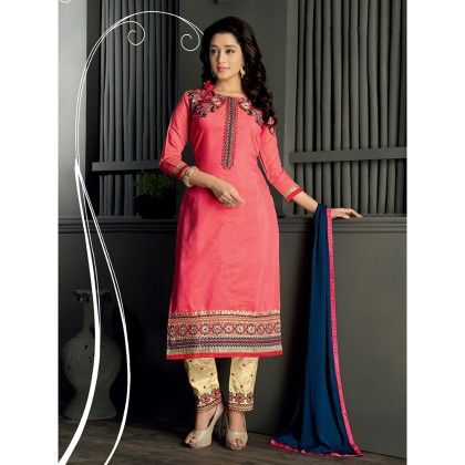 Embroidered Designer Wear Dress Material With Blue Dupatta - Balloono