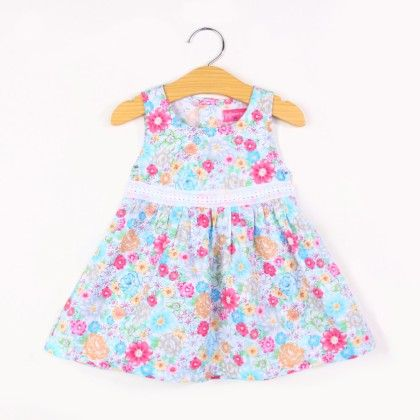 Beautiful Flower Print Summer Dress- Blue - FlowerButterfly