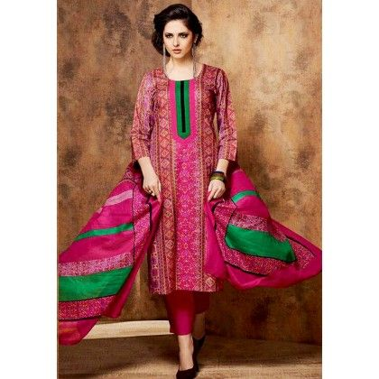 Pink & Green Printed Cotton Dress Material - Afreen