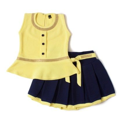 Yellow Squance Work Round Neck Top And Waist Dress - Aww Hunnie!!