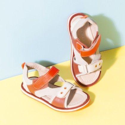 Tuskey Tan Orange Velcro Sandal - Tuskey Shoes