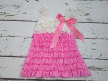 Dark Pink And White Ruffle Sling Dress - Pink Whale